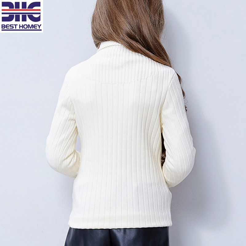 Kids' 100% Cotton Turtleneck Knitted White Sweater Designs