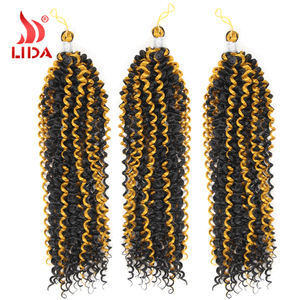 "Bohemian Afro Kinky Curly 14"" black yellow water wave Ombre Braiding Hair Crochet Braiding"