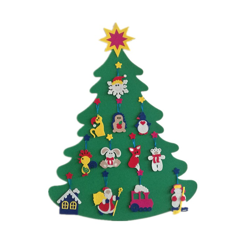 2017 Hot Wall Hanging Felt Christmas Tree Diy Mounted For Kids Decorated
