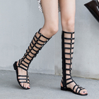 WETKISS Factory Custom Logo Roman 2019 Ladies Flat Sandals Black Leather Summer Sandals Knee High Gladiator Sandals Women Shoes