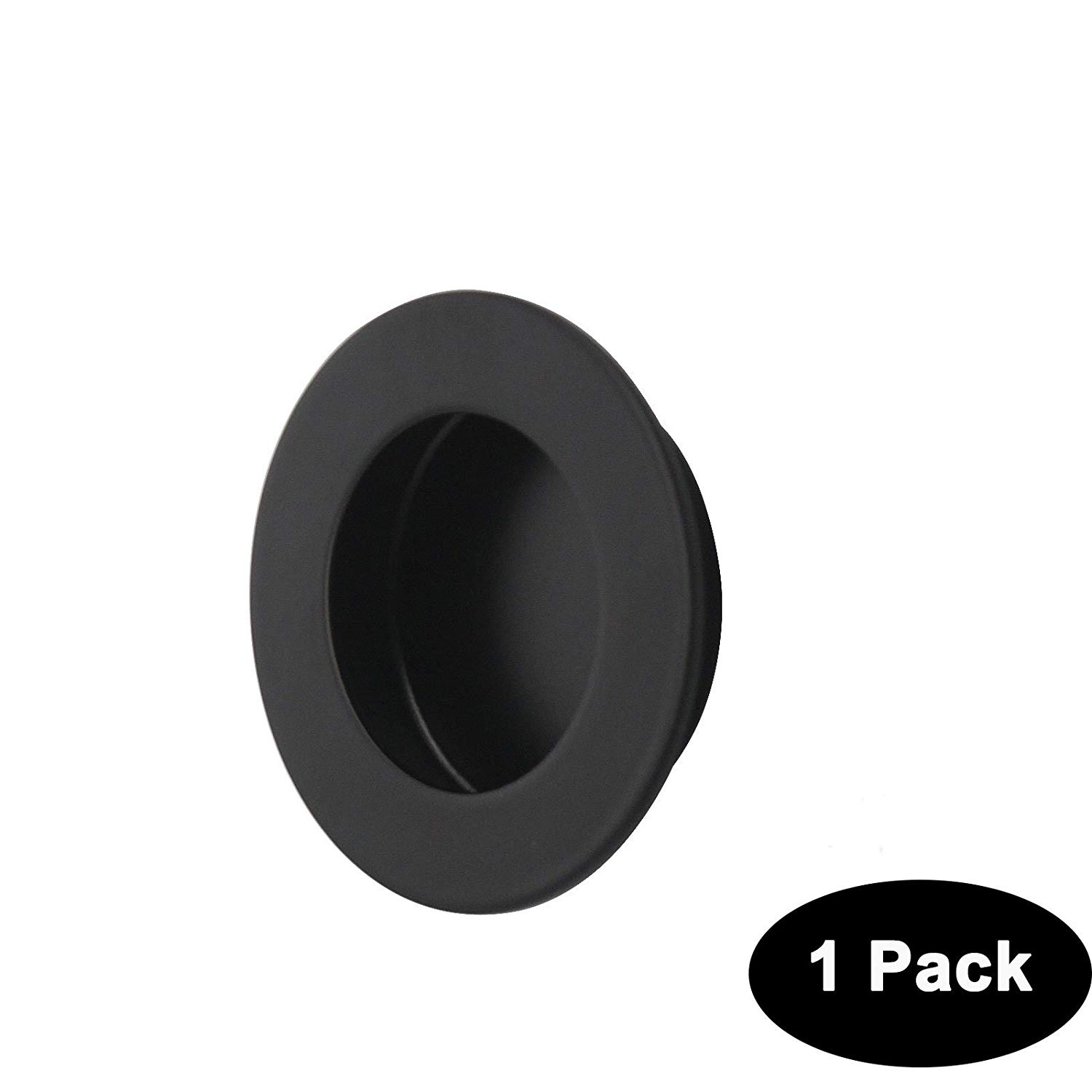 Probrico 1 Pack Round Recessed Cabinet Knob 304 Stainless Steel Sliding Flush Door Pull Handle Black 65mm Diameter