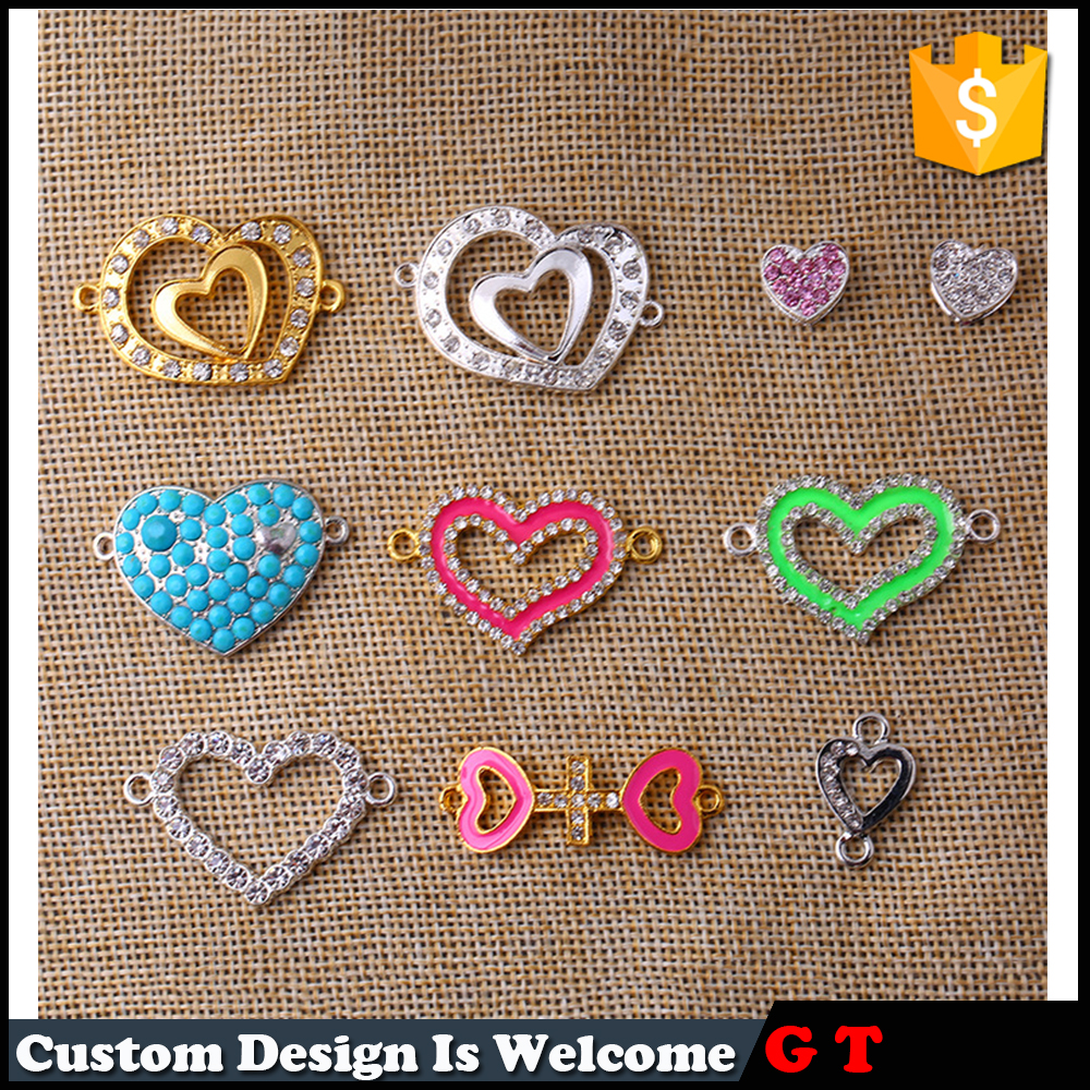 Fashion Wholesale Double Heart Link Shaped Connector With Crystal Jewelry Finding Accessories Parts