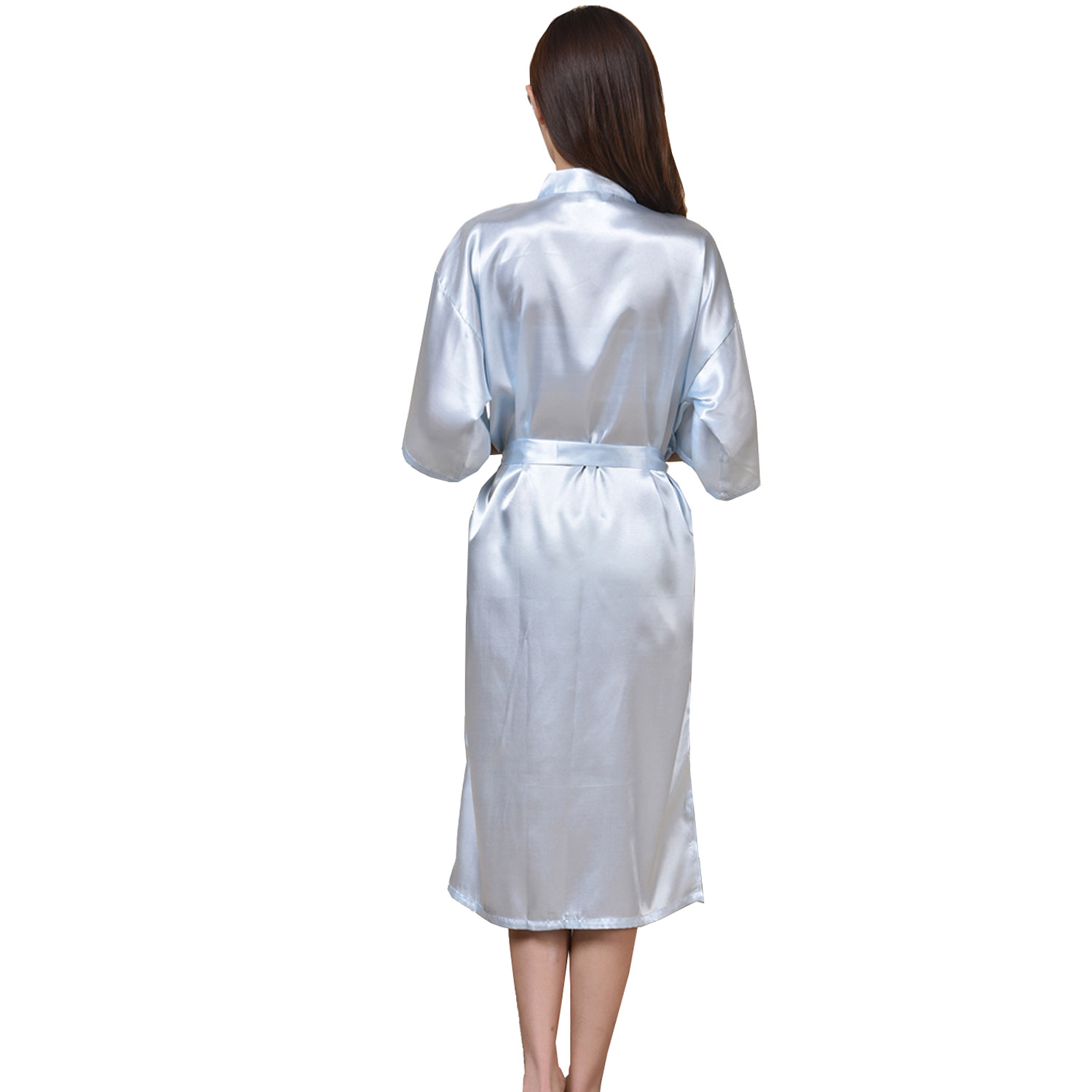 Customized Silk Satin Wedding Bride Bridesmaid Lace Trim Robes