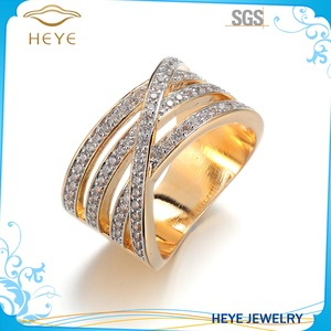 Classic Custom Jewelry AAA Grade zircon real gold Plated 18k white gold ring shine white unisex