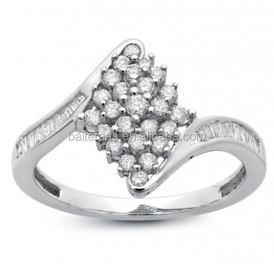 925 Sterling Silver CZ Cubic Zirconia Round And Baguette Diamond Pave Cluster Bypass Ring
