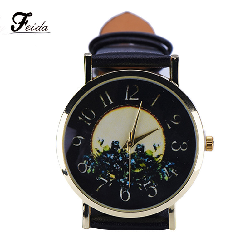 Relojes mujer 2015 Rural Style Fashion Collocation Leather Watch Women Relogio feminino Wholesale Feida