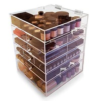 6 Tier Clear Acrylic Cosmetic Makeup Organizer With 5 Drawers & Removable Dividers