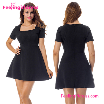 1827b98b0c5d Fantasy Black Short Sleeve Latest Designs Women Evening Skater Dress ...