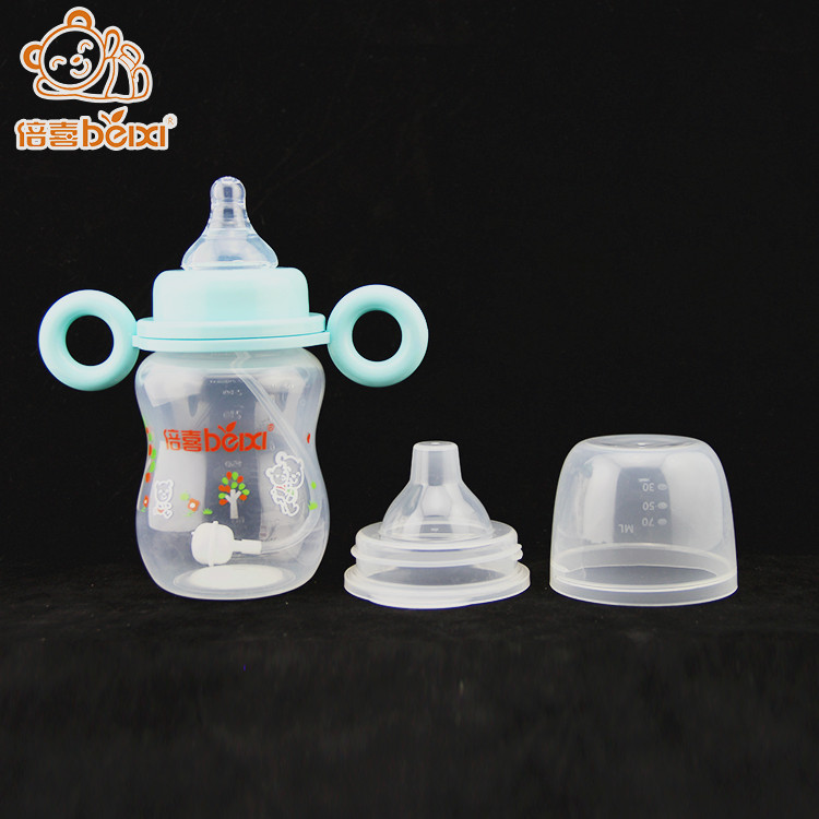 BPA free PPSU plastic+baby feeding bottle with straw+baby nipple training cup