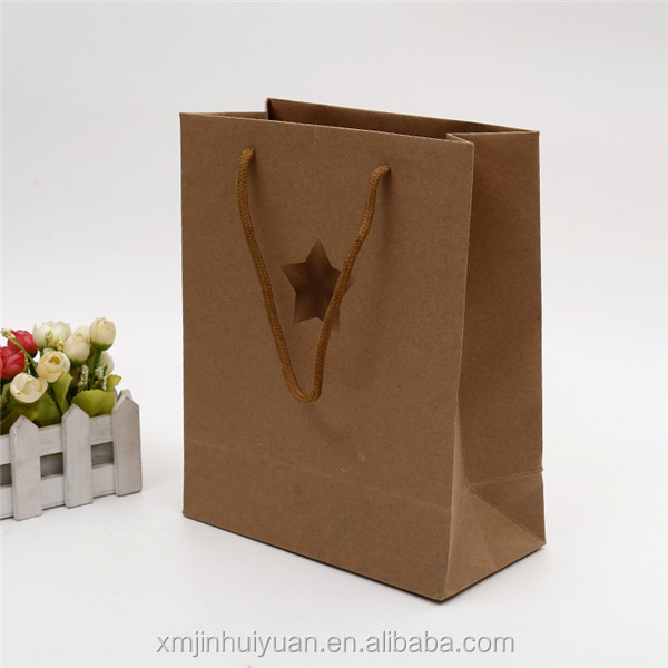 Customized Five-Pointed Star Kraft Paper Handle Packaging Bag