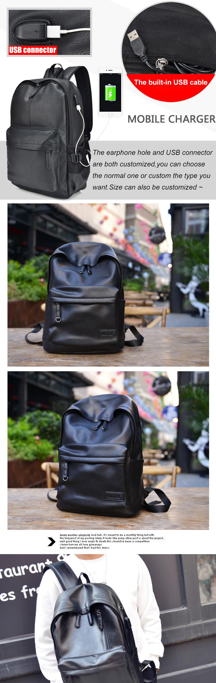 cde1fc4d6edc Европейская школа PU мужские Back Pack USB зарядное устройство для ноутбука,  рюкзак с отверстием для