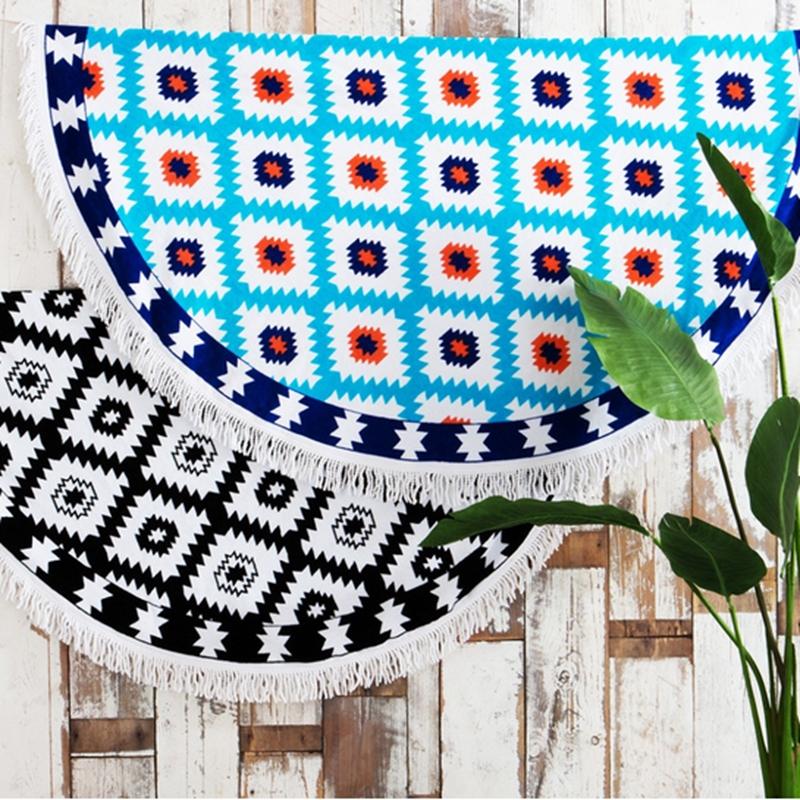 2016 innovative coton imprim serviettes de plage ronde avec gland softextile mandala serviette. Black Bedroom Furniture Sets. Home Design Ideas