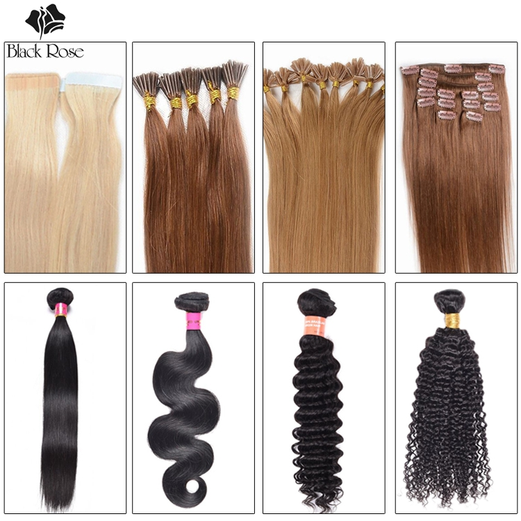 Black Rose Hair Products Factory Wholesale Virgin Remy Human Hair Extension Weaves Bundles For Black Women & White Women