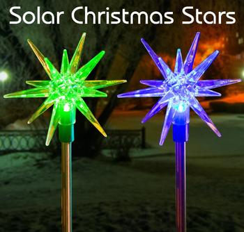 Christmas Star Solar Garden Stake Light Color Changing Led