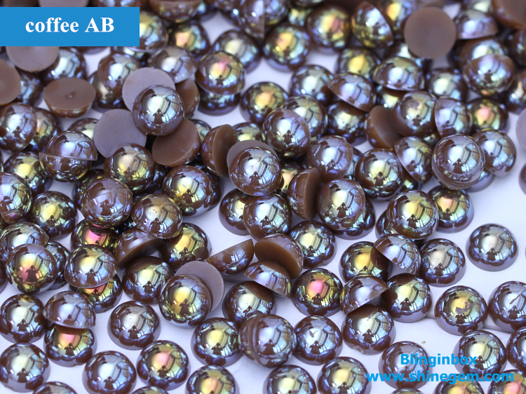 AB Color Plastic ABS Half Round Flatback Pearls Use For Nail Art