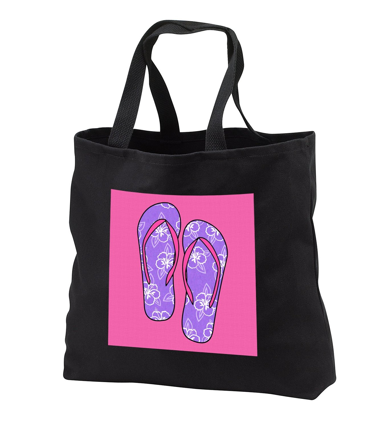 Janna Salak Designs At the Beach - Cute Flip Flops Purple and Pink - Tote Bags