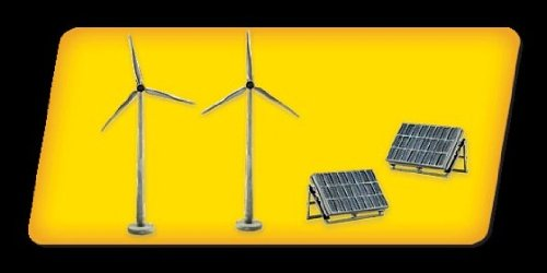 Scene-A-Rama Scene Setters Alternative Energy Set Wind Turbines & Solar Panels (2 ea)
