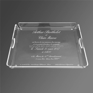 Clear Acrylic distinctve large square tray deal for party catering ,weddings, events, family gatherings
