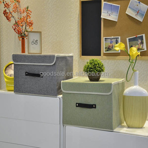 Set of Two Foldable Storage Box with Lids and Handles Storage Basket Storage With Built-in Cotton Fabric Closet Drawer Removable