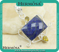 Blue Lapis Lazuli Yellow Citrine Three Stone Pendant Q6246