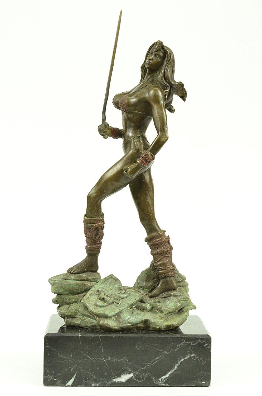 ...Handmade...European Bronze Sculpture Sexy Valkyrie Norse Mythology Warrior Goddess Fantasy Art Viking (1X-XN-2450) Bronze Sculpture Statues Figurine Nude Office & Home Décor Collectibles Sale Deal