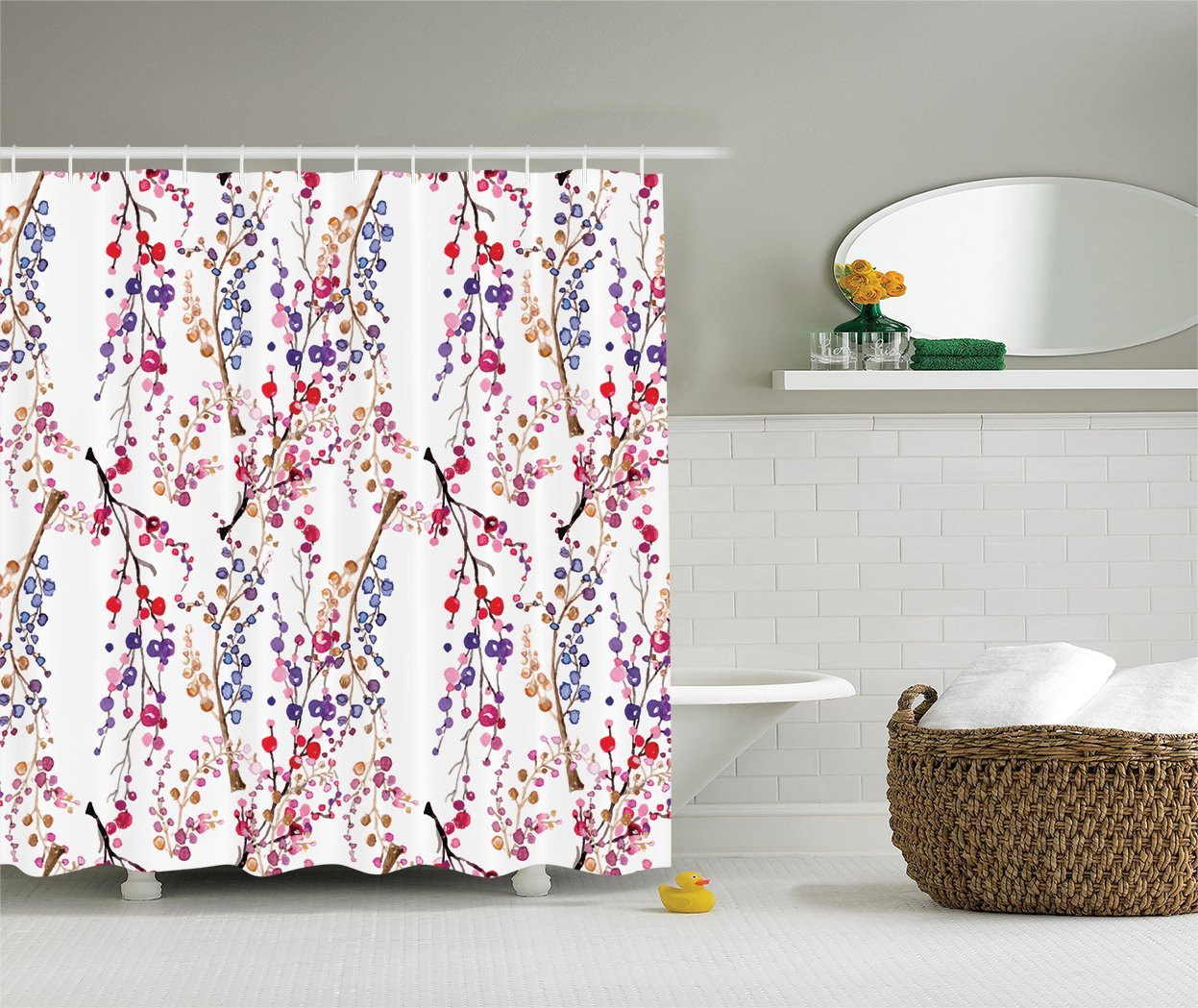 Ambesonne Watercolor Flower Decor Collection, Colorful Flower Sprigs and Branches Pattern in Watercolor, Polyester Fabric Bathroom Shower Curtain Set with Hooks, 84 Inches Extra Long, Red Pink Purple