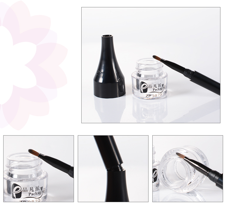 SHANTOU cheap plastic clearempty bottle unique eyeliner packaging with brush