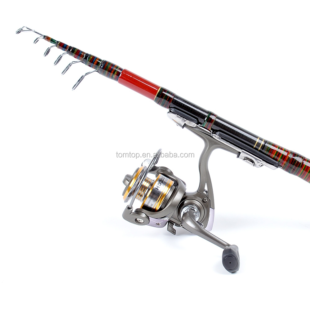 2.1M 6.89FT Telescopic Fishing Rod Travel Spinning Lure Rod Raft Pole Carbon Fiber