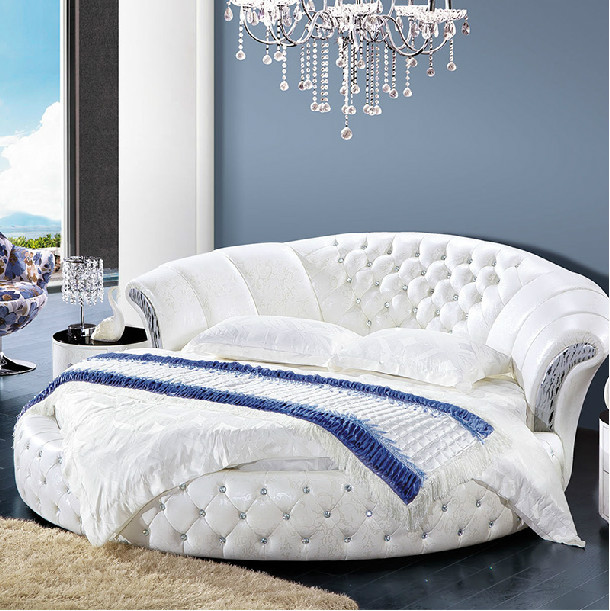 Modern Design Pure White Genuine Leather Round Bed - Buy