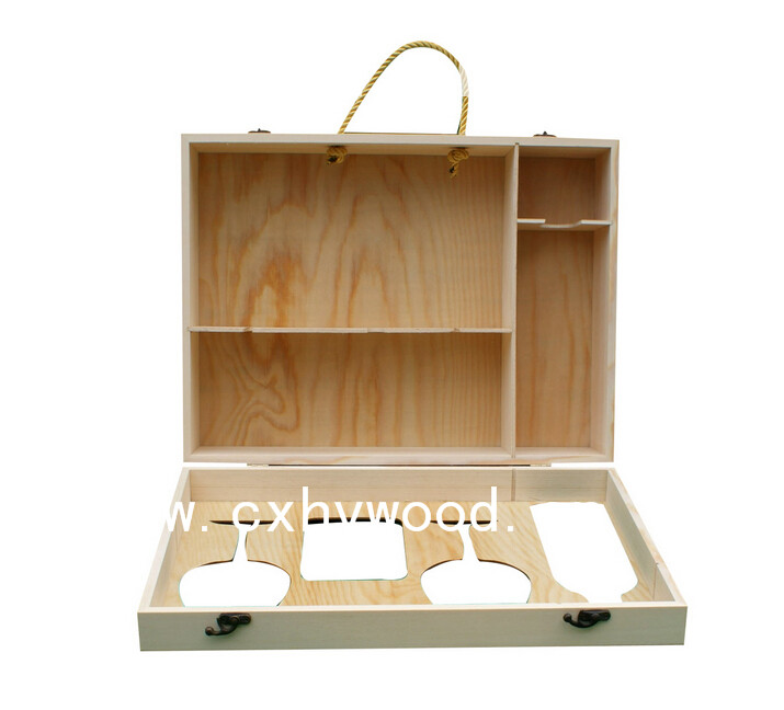 wood gift box for wine bootle and drinking cups wooden wine boxes