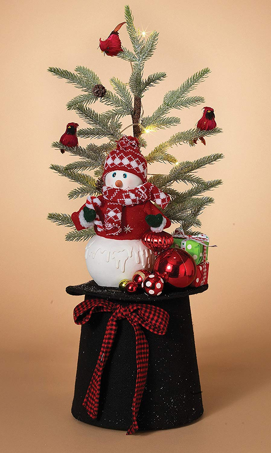 get quotations 26 large lighted holiday christmas hat with snowman christmas tree cardinals ornaments and presents
