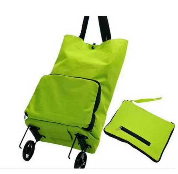 Korean Style Green With Portable 600D Nylon  Eco Reuse Collapsible Shopping Cart Bag With Wheels