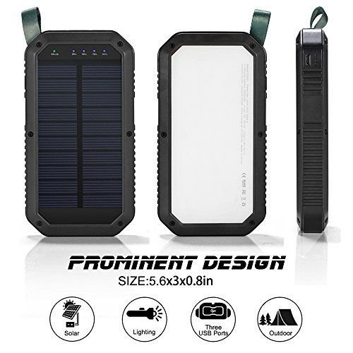 Tommley Solar Charger, 8000mAh, 3 Port USB 21 LED Lights Waterproof Portable Power Bank Phone Charger(Black)