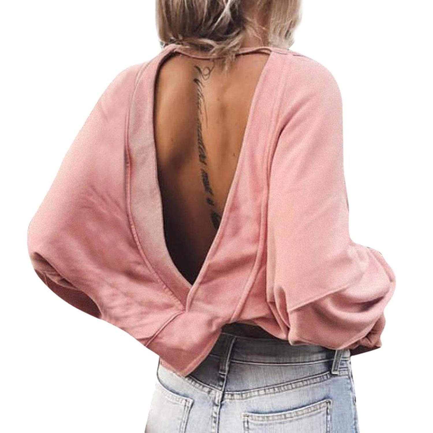 Kinrui Sexy Blouse for Women, Ladies Casual Crop Solid Long Sleeve Backless T-Shirt Blouse Sweatshirt Tops