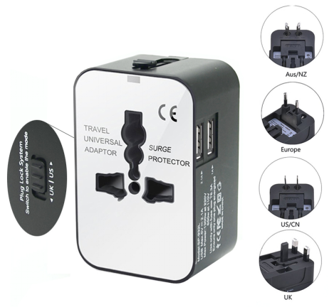 Electronic gift promotion international multi plug UK/US/AUS/EU plug with USB charger power universal world travel adapter