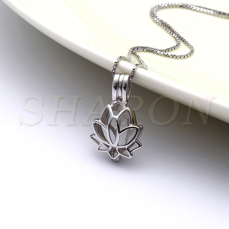Jewelry Fashion Necklace Sterling Silver Lotus flower Bead Cage Pendant