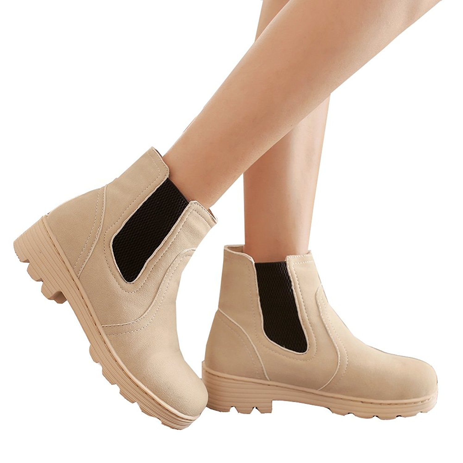 da0cb86e3666 Get Quotations · Caddy Wolfclaw Women Sweet Winter Fur Lined Snow Boots Low  Heel Martin Boots Round Toe Chelsea