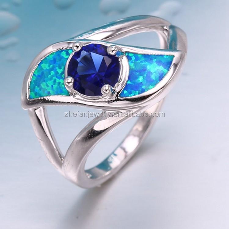 Guangzhou zhefan mode sieraden 2017 bruiloft zilveren opaal ring buy product on - Buitenste stenen bar ...