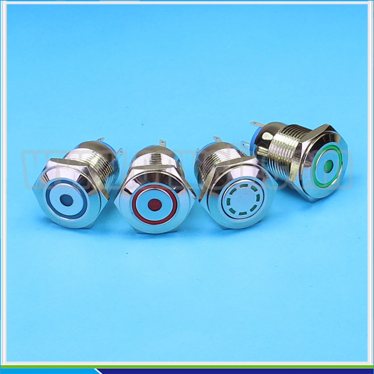 1622 16mm Flat round head momentary pin terminal ring and dot lamp electric switch
