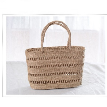 Straw Rattan Women Tote Bags Summer Beach Shoulder Handbags Fashion Hollow Hand Woven Seagrass Hand Woven Bags