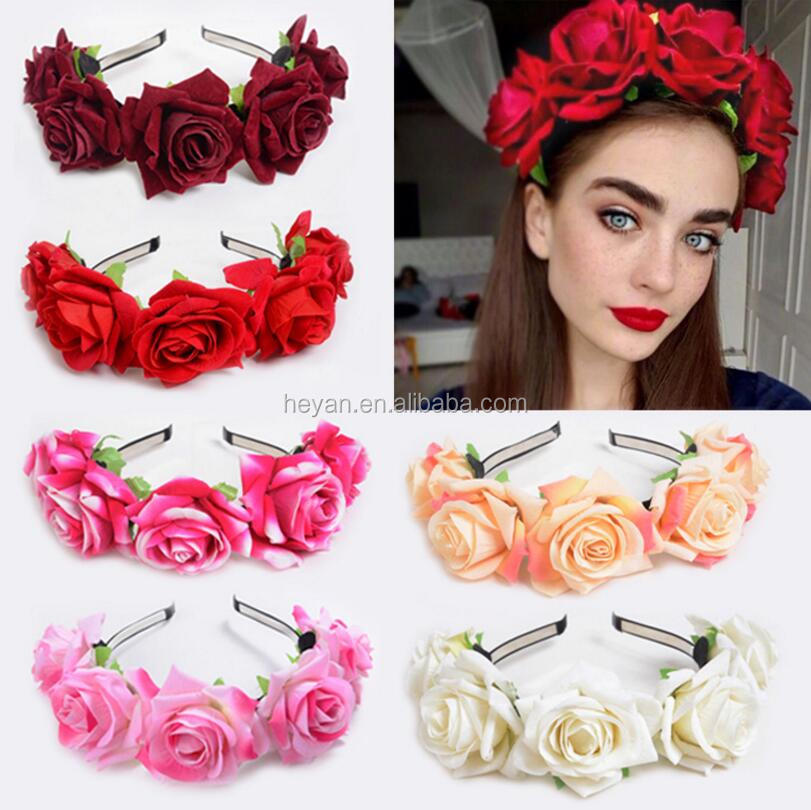 Party large flowers headbands crowns holiday party hair floral headband