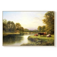 100% Handmade Landscape Painting Farm AnimalCow And Sheep Painting Beside The Stream