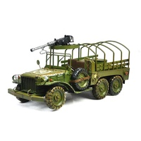 TM183 Vintage Home Decor Metal Cast Iron Toy Cars With Gun Handmade Military Vehicles Tin Car Toys Gifts 40*16*20cm