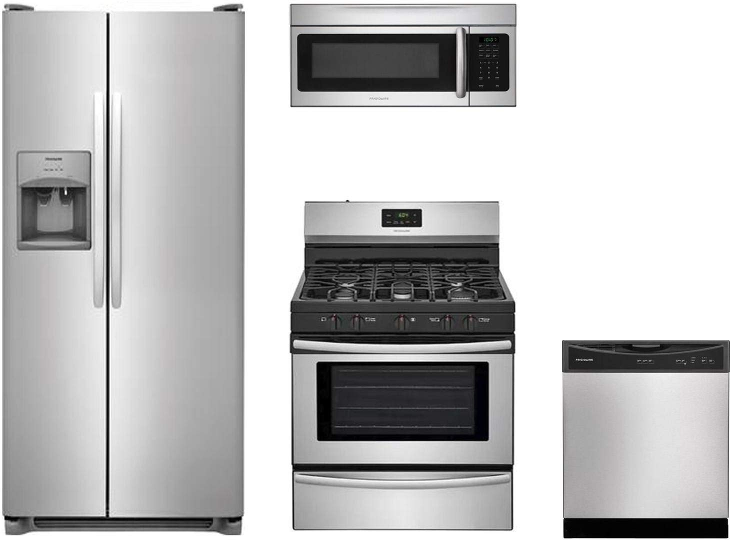 Get Quotations Frigidaire 4 Piece Kitchen Package With Ffss2615ts 36 Side By Refrigerator Ffgf3052ts
