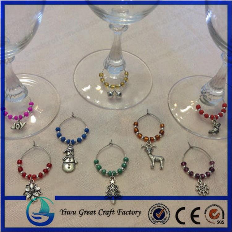Wine Glass Charm Pendants Enamel Christmas Wine Glass Marker Mixed ...