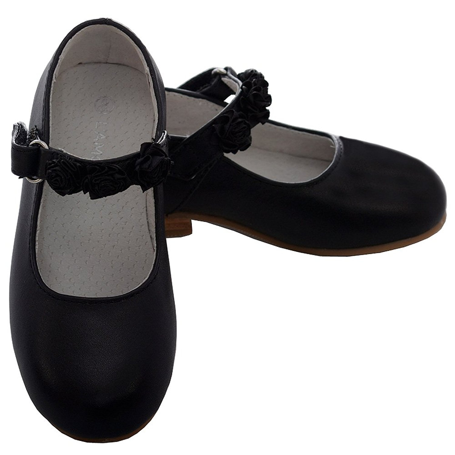 314424d5aafc Get Quotations · L Amour Toddler Girl Black Leather Flower Mary Jane Velcro  Shoe