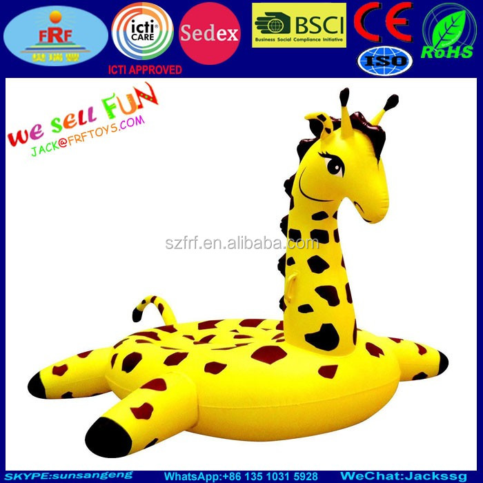 Giant Inflatable Giraffe Island, Pool Float Giraffe Water Beach Lounger