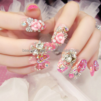 Bride 3d Fake Nails Full Cover Pre Design Nail Art Tips Beauty Press ...