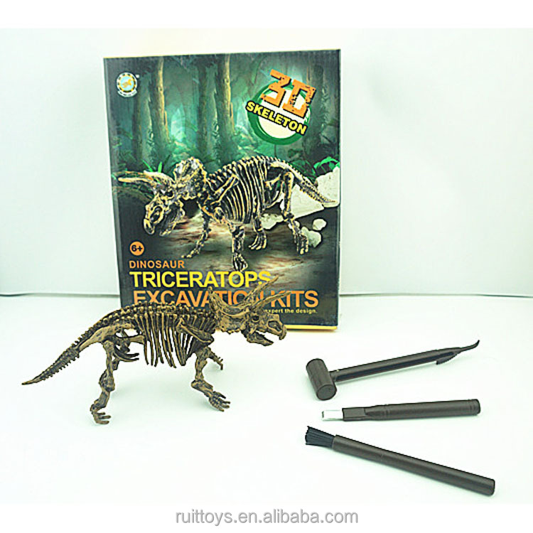 Educational Dig It Out 3D Triceratops Dinosaur Skeleton Excavation Kit Toy for Kids