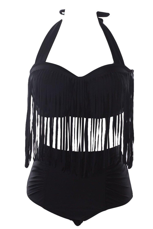 6827de09e2c31 Get Quotations · Womens Plus Size Bikini Retro High Waist Braided Fringe  Top Swimwear Plus Size